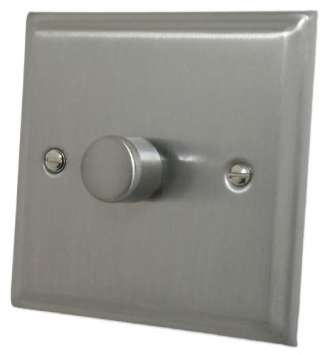 G&H DSN15 Deco Plate Satin Nickel 1 Gang 1 or 2 Way 700W Dimmer Switch Single Plate